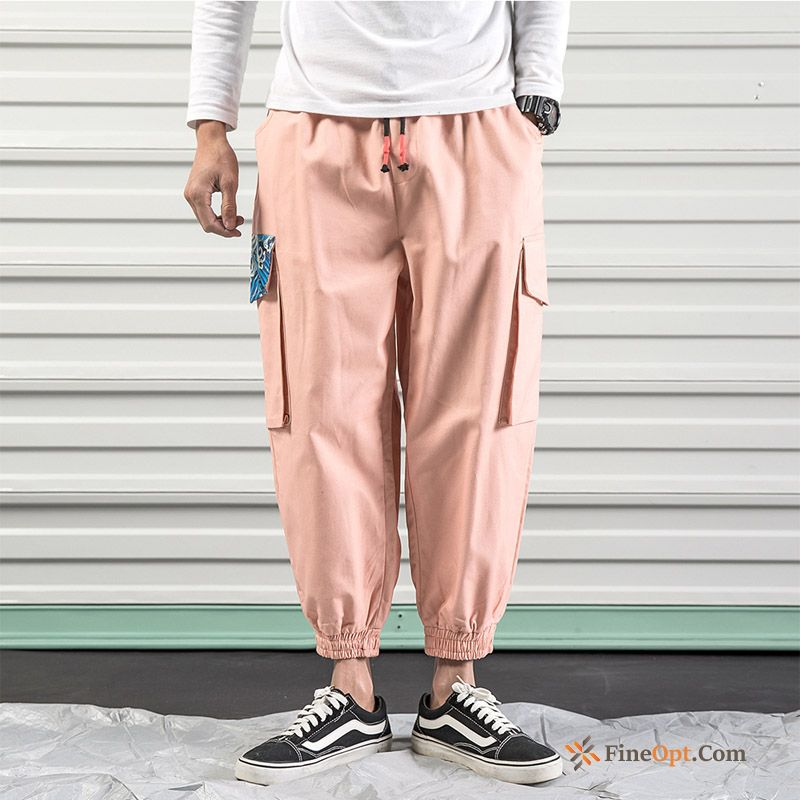 Cheap Trend Pink Large Size Pants Harlan Tight Cargo Cargo Pants