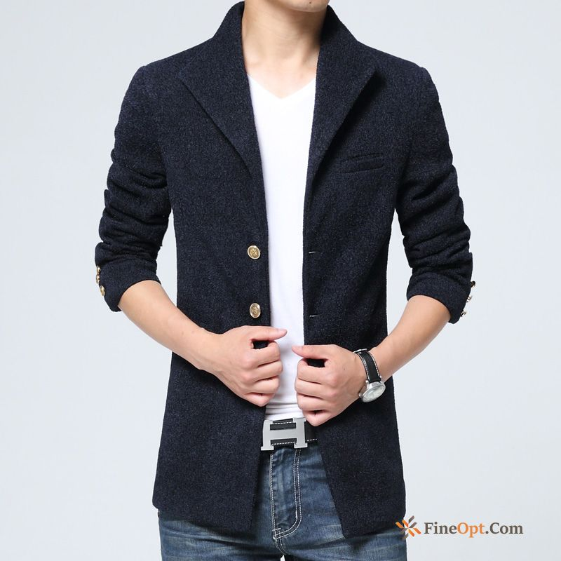 Cheap Trend Wollen Fabric Overcoat Winter Slim Stand Collar Europe Coat