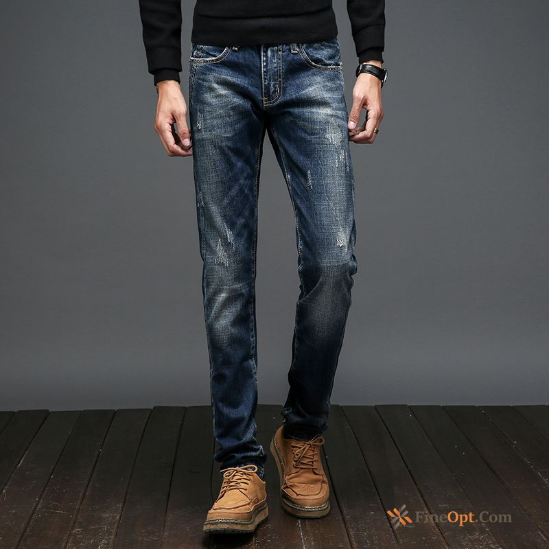 Cheap Trousers Jeans Light Skinny Spring Trend Slim Peacock Blue