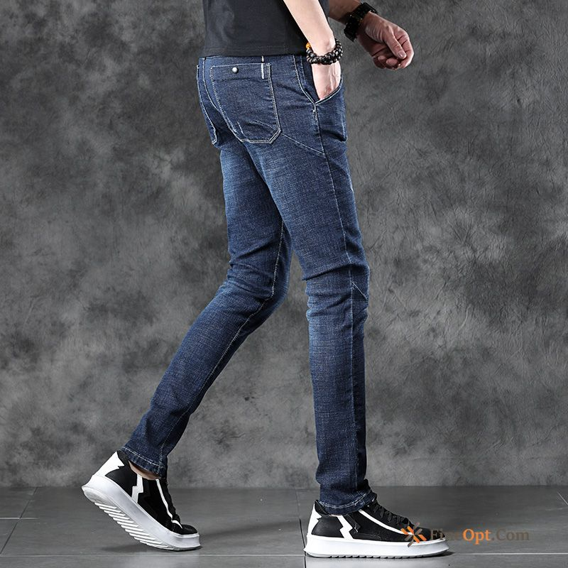 Cheap Trousers Skinny Youth Blue Jeans Elasticity Summer
