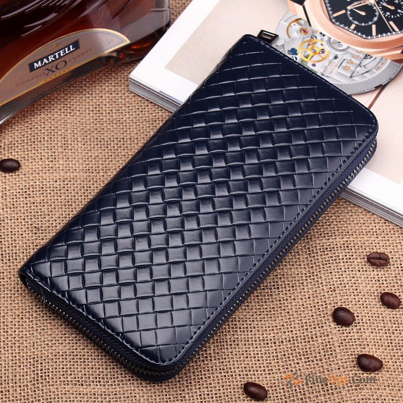Cheap Weaving Leisure Zipper Business Wallets Men Fashion