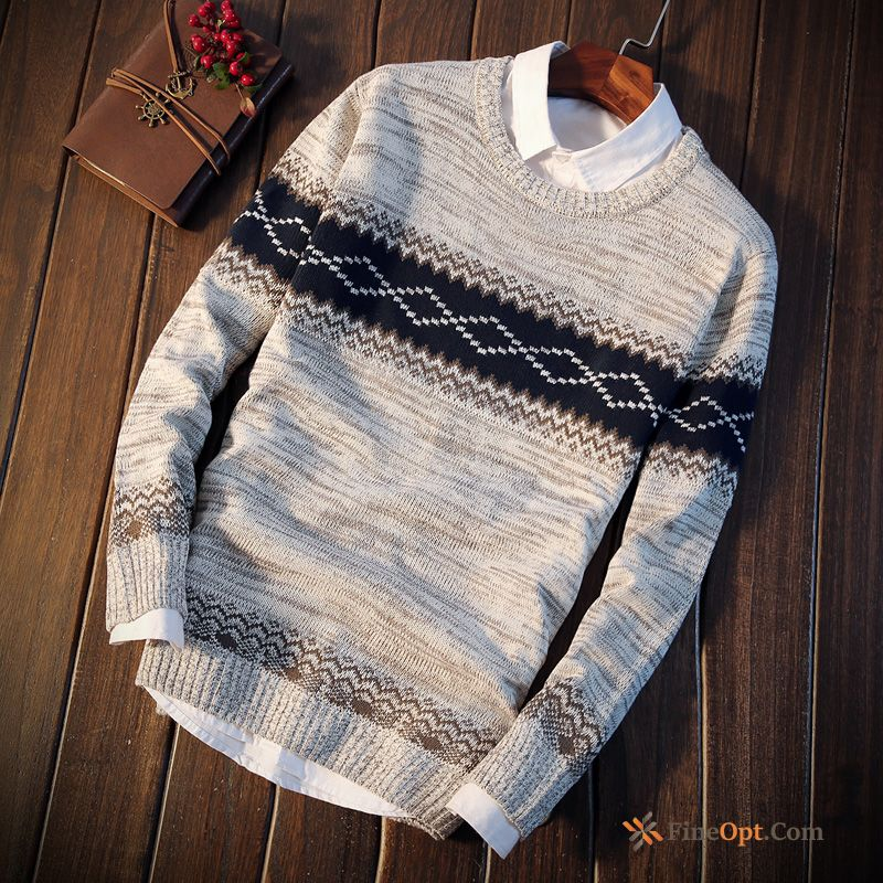 Cheap Winter Clothes Teens Europe Round Neck Men's Knitwear Sweater Slim Sweater
