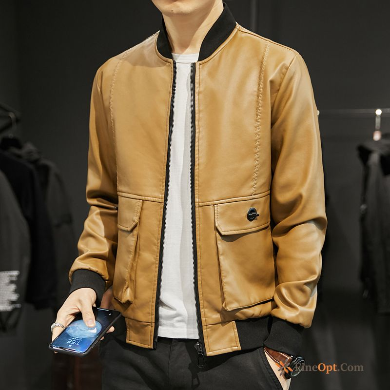 Cheap Winter Leisure Trend Motorcycle Jacket Leather Youth Leather Jacket