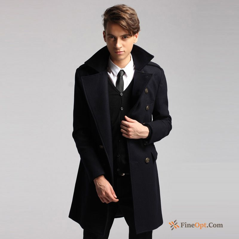 Cheap Wollen Fabric Winter Men's British Woolen Slim Coat Coat