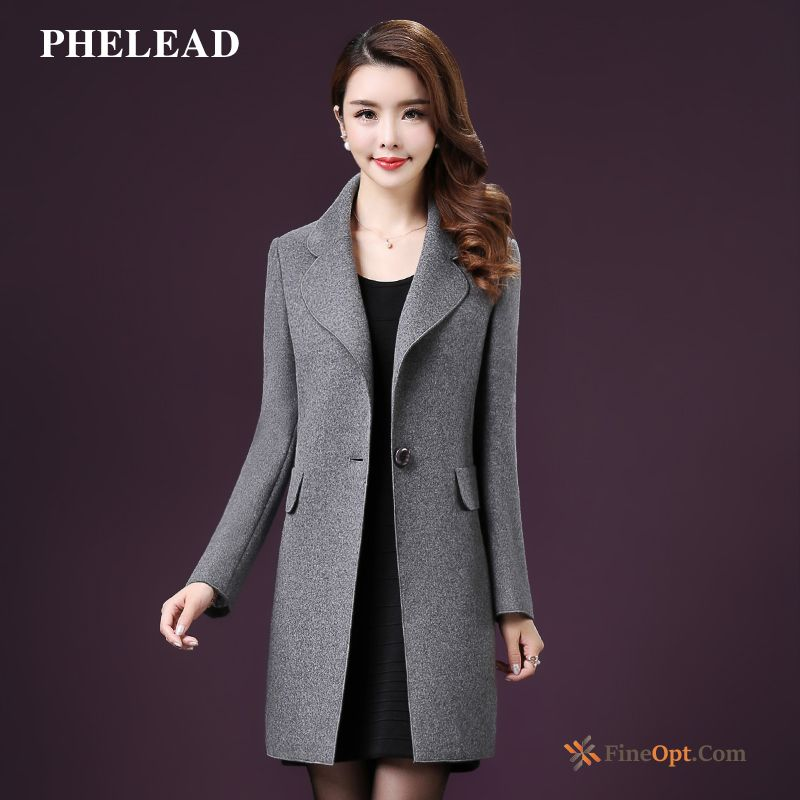 Cheap Woolen Spring Europe Wollen Fabric Long New Slim Coat