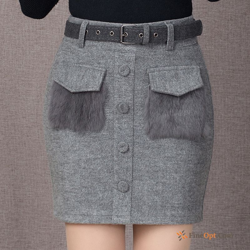 Cheap Woolen Winter New Autumn Short Skirt Elasticity Professional Snow-white Skirts