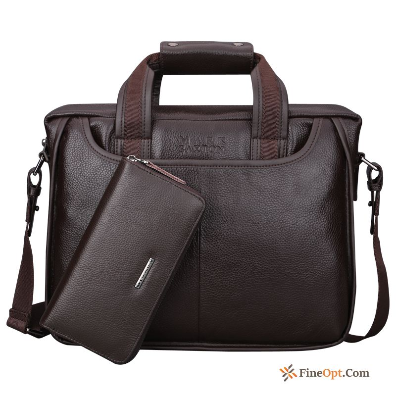 Cheap Youth Pure Colour Business Genuine Leather Shoulder Bags Briefcase Men's Handbag