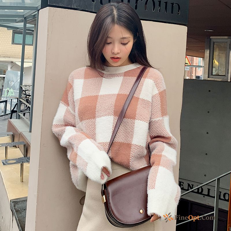 Check Europe New Autumn Sweater Pink Loose Oyster White