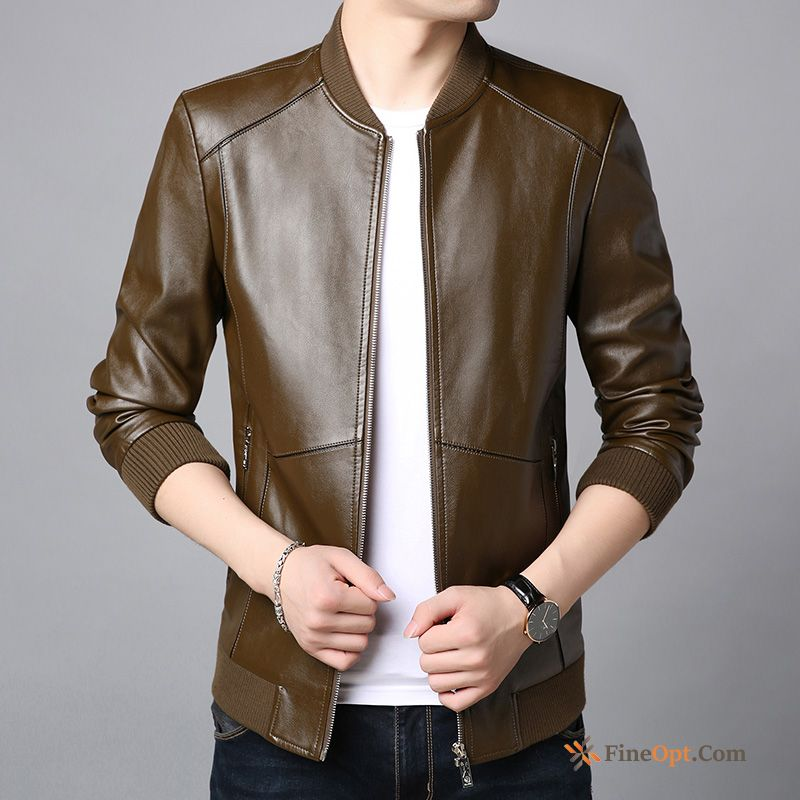 Coat Jacket Trend New Leather Pu Handsome Carbon Black Leather Jacket Discount