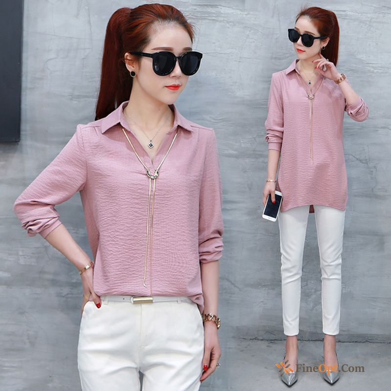 Coat Long Sleeves Loose Pullovers All-match Blouse Autumn Baby Pink Blouse