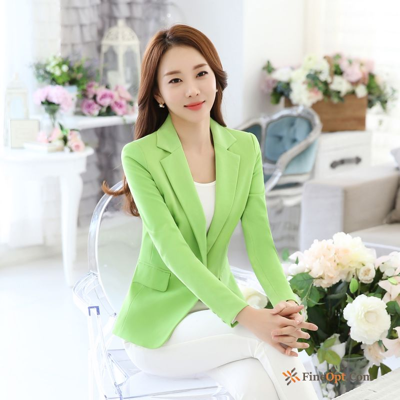 Coat Long Sleeves Professional Slim Temperament Spring Suit Pale Purple Blazer Online
