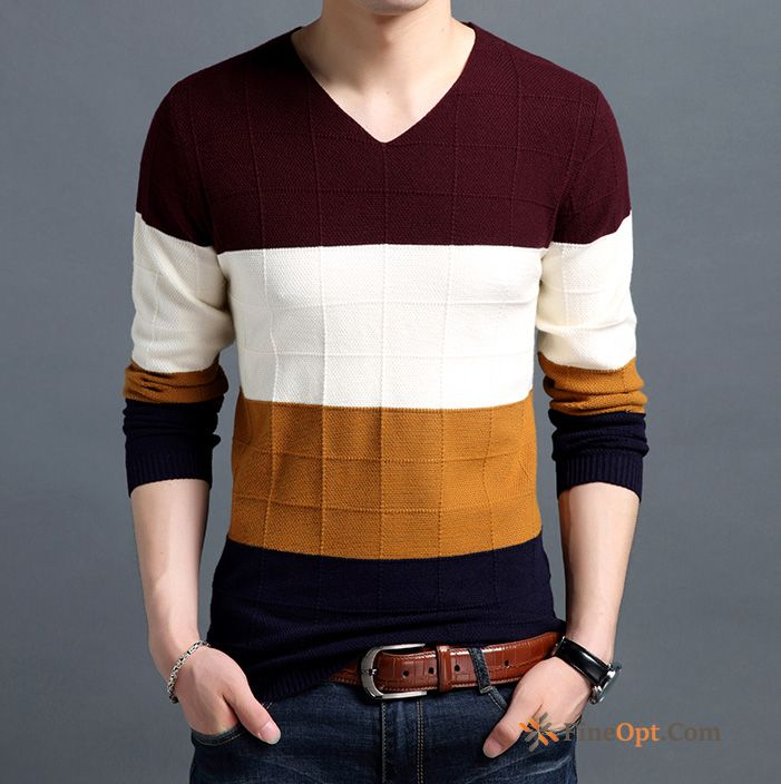 Coat Men's Spring Long Sleeves Slim Knitwear Sweater Bottoming Shirt Purplish Red Sweater For Sale