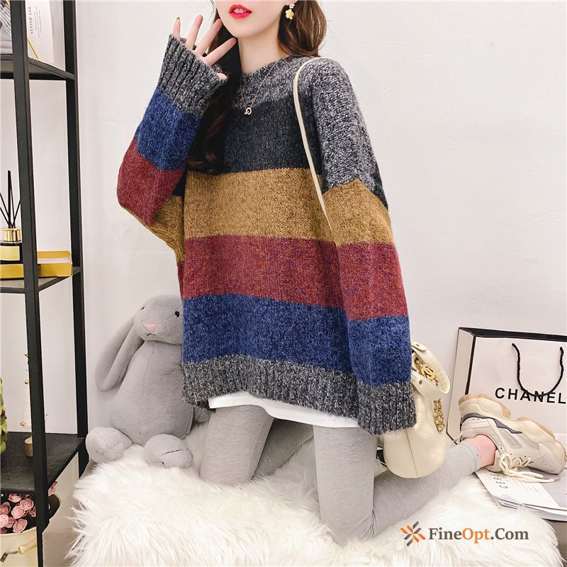 Coat Mixed Colors Red Stripes Winter Sweater Knitwear Sweater Online