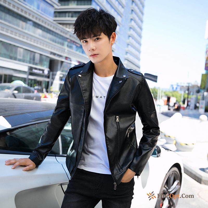 Coat Motorcycle Plus Velvet Handsome Jacket Black Leather Leather Jacket Discount