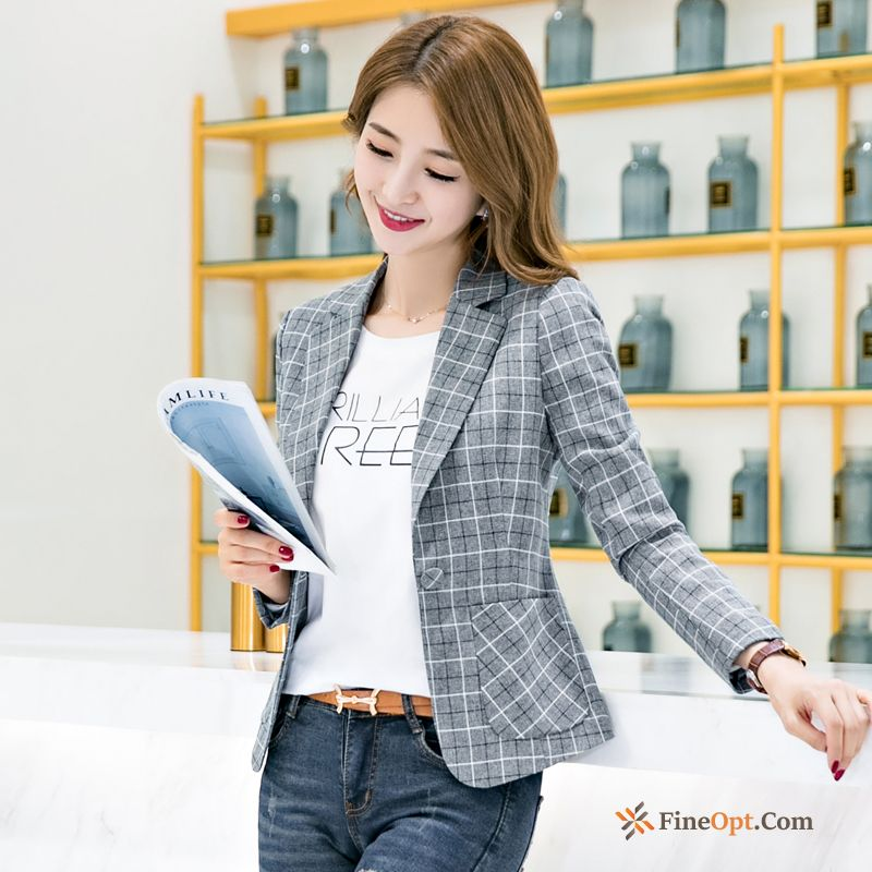 Coat New Short Checks Check Leisure Autumn Blazer Discount