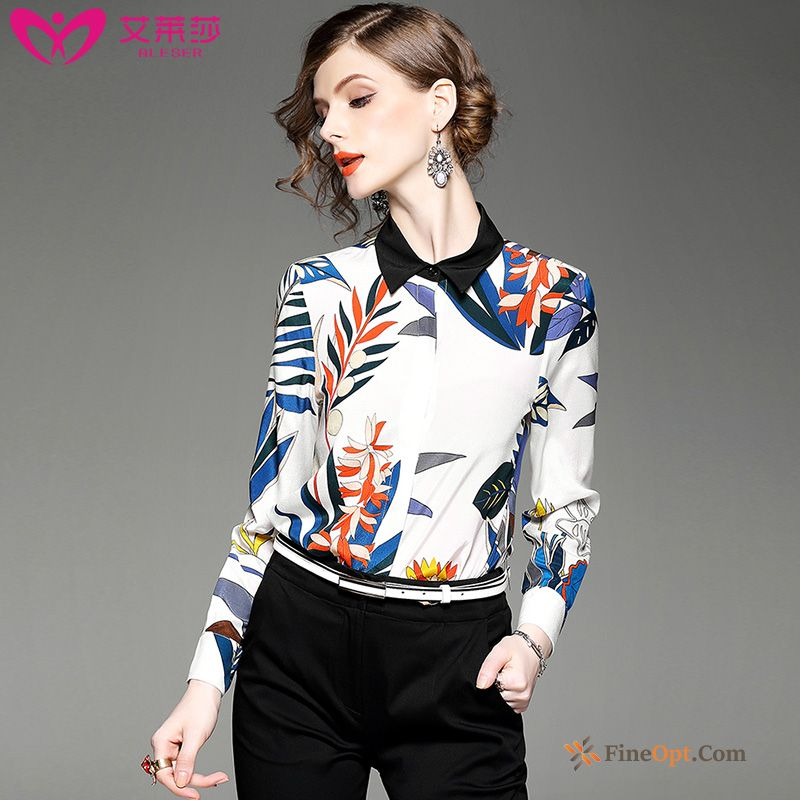 Coat Printing Blouse New Silk Silk Fine Blouse For Sale