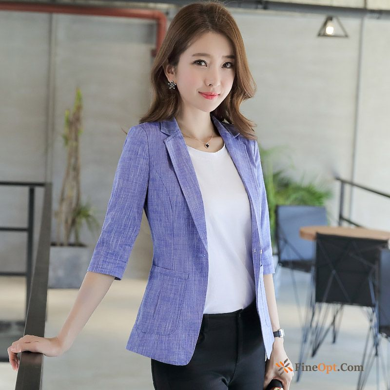 Coat Thin Europe Slim Suit Blue Sleeve Blazer