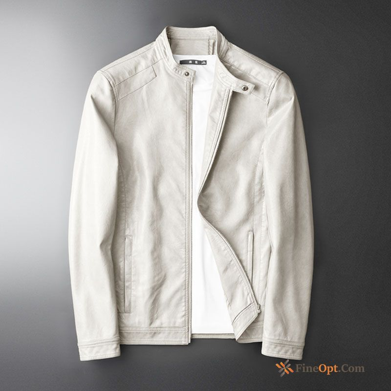 Coat White Slim Jacket Spring Handsome Trend Leather Jacket