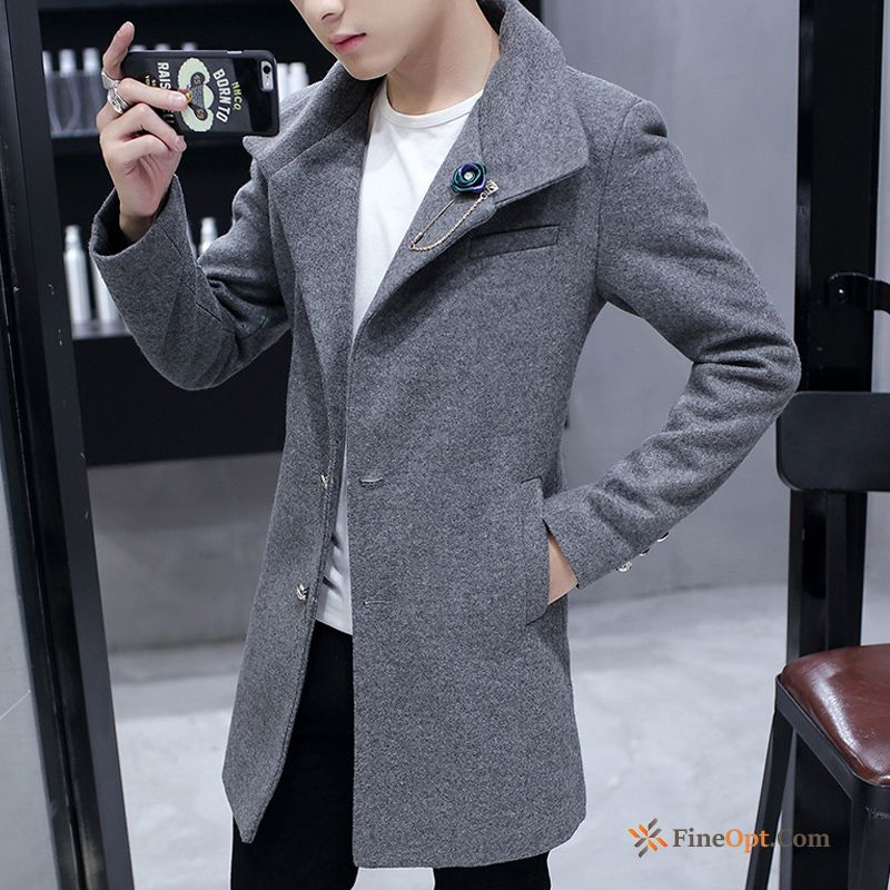 Coat Wollen Fabric Men's Handsome Overcoat Trend Student Lake Coat