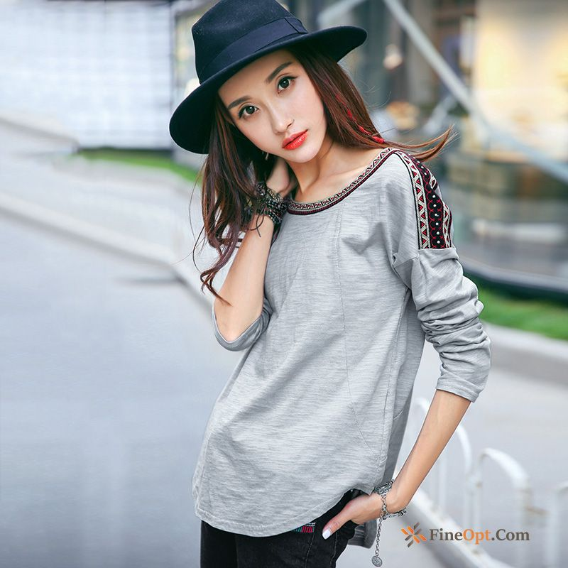 Contrast Color Loose T-shirt Long Sleeves Falling Shoulder New Embroidery T-shirts Sale