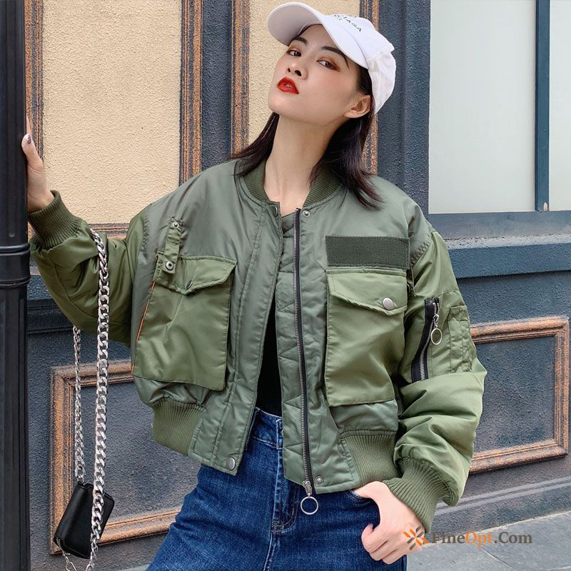 Cotton Coat Short Autumn Winter Jacket Military Green Jacket