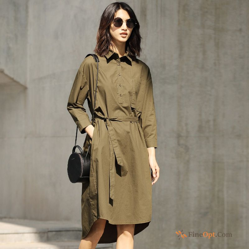 Cotton Spring Pure Long Sleeves Blouse Loose Dress Discount