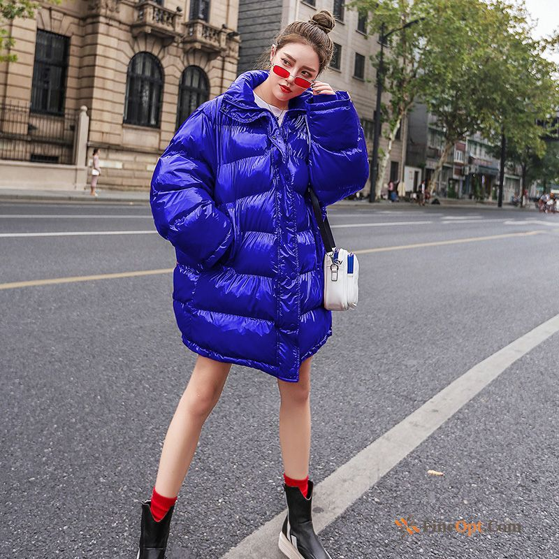 Cotton Trend Glossy Short Coat Thick Blue Pansy Cotton Coat Discount