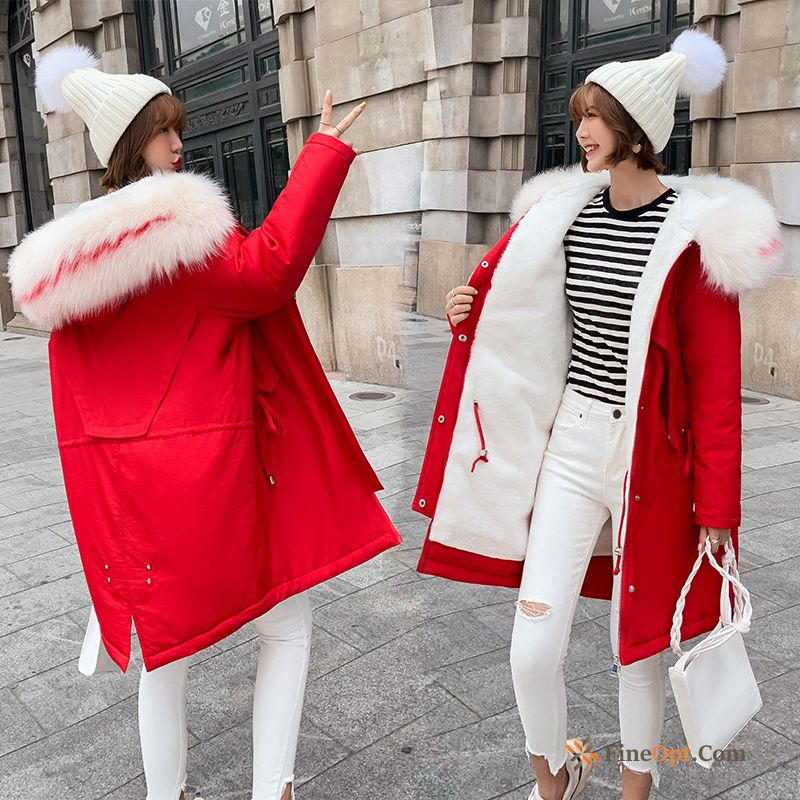 Cotton-padded Coat Cotton Thickening Long Anti-season Red Cotton Coat