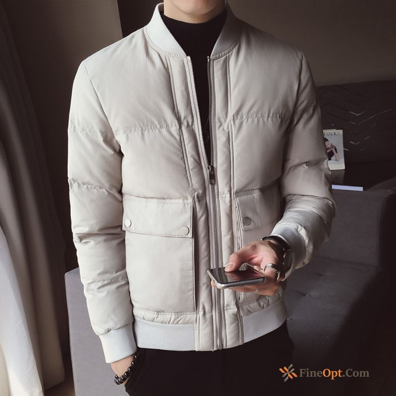 Cotton-padded Trend Brand Europe Thickening Cotton Gray Handsome Cotton Jacket Sale