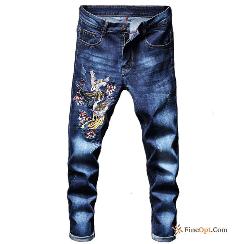 Cranes Summer Skinny Chinese Style Leisure Floral Trend Dark Green Jeans Discount