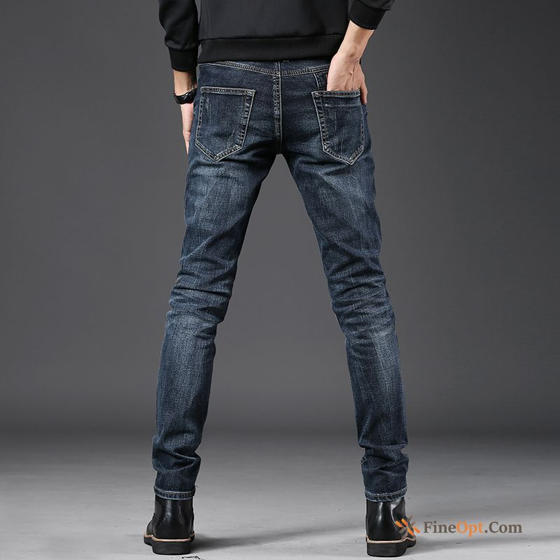 Denim Men's Youth Slim Jeans New Trousers Rose