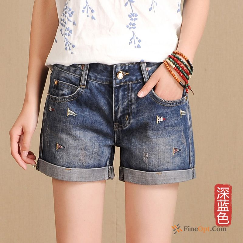 Denim Short Pants New All-match Crimping Summer Thin Maroon Jeans Discount