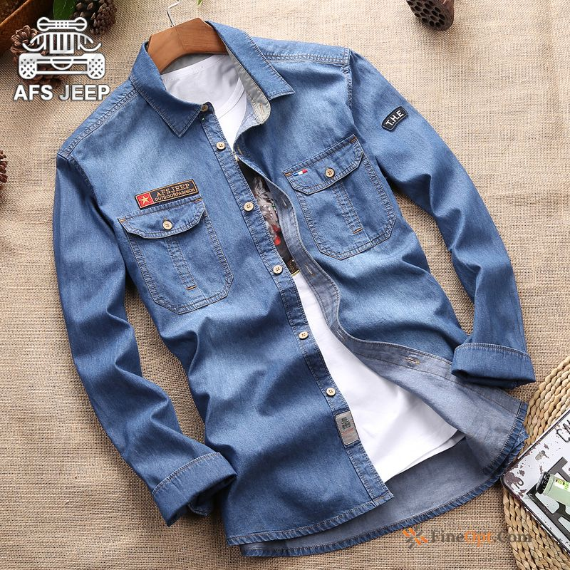 Denim Trend Leisure Men's Coat Spring Skinny Turquoise Shirts Sale