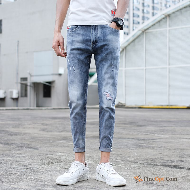 Elasticity Men's Trend Brand Slim Leisure Summer All-match Bisque Jeans Online