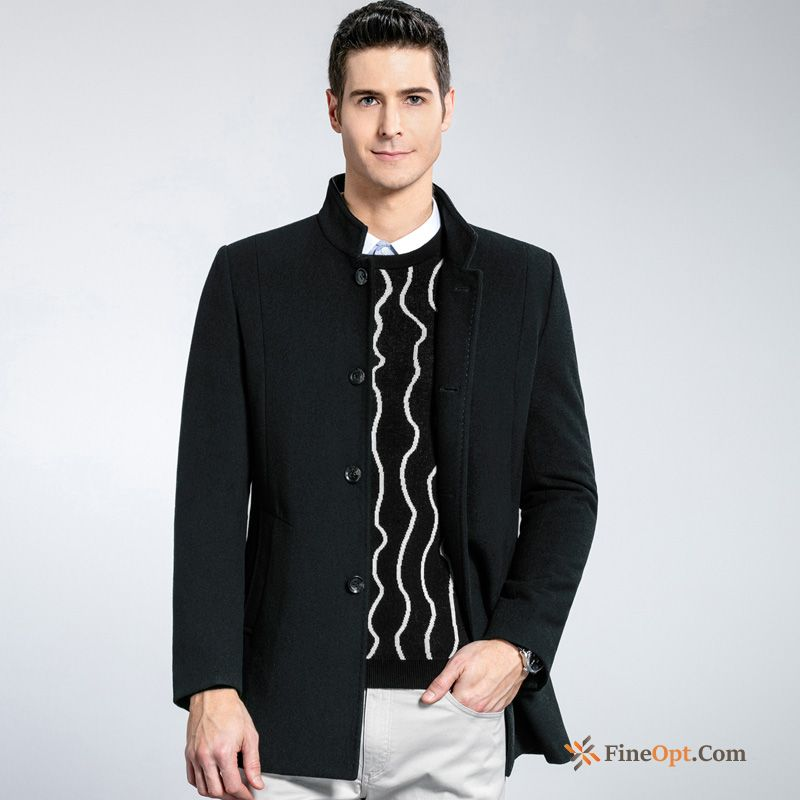 Elegant Men's Long Coat Winter Wolf Slim Coat For Sale