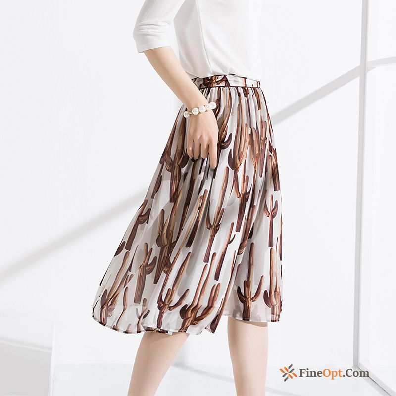 Elegant Spring All-match Chiffon Fashion A Letter Skirts Skirts Discount