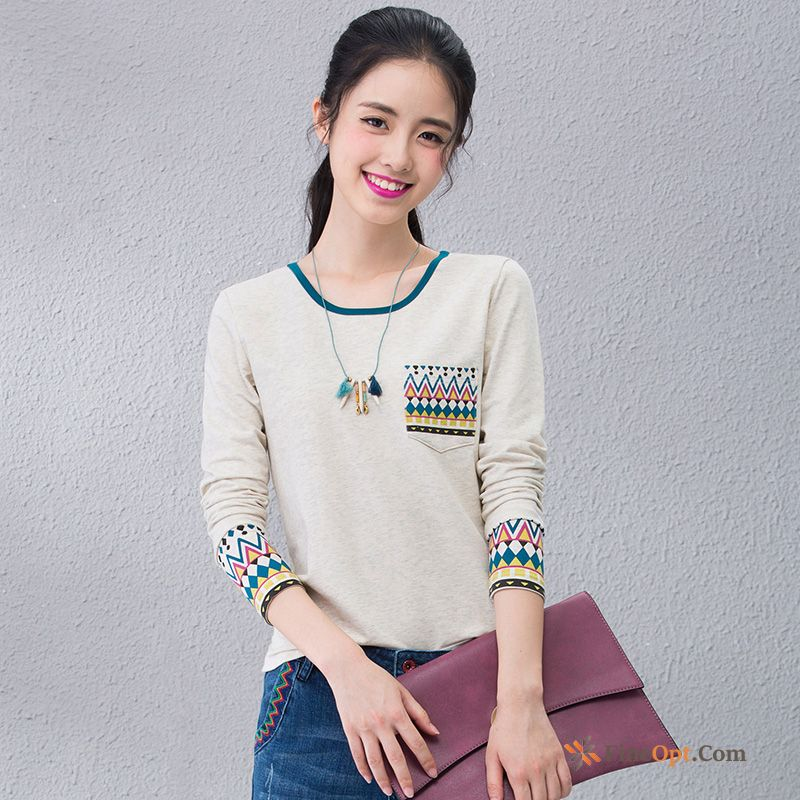 Embroidered All-match Silk Spring T-shirt Round Neck Slim Tea Green T-shirts