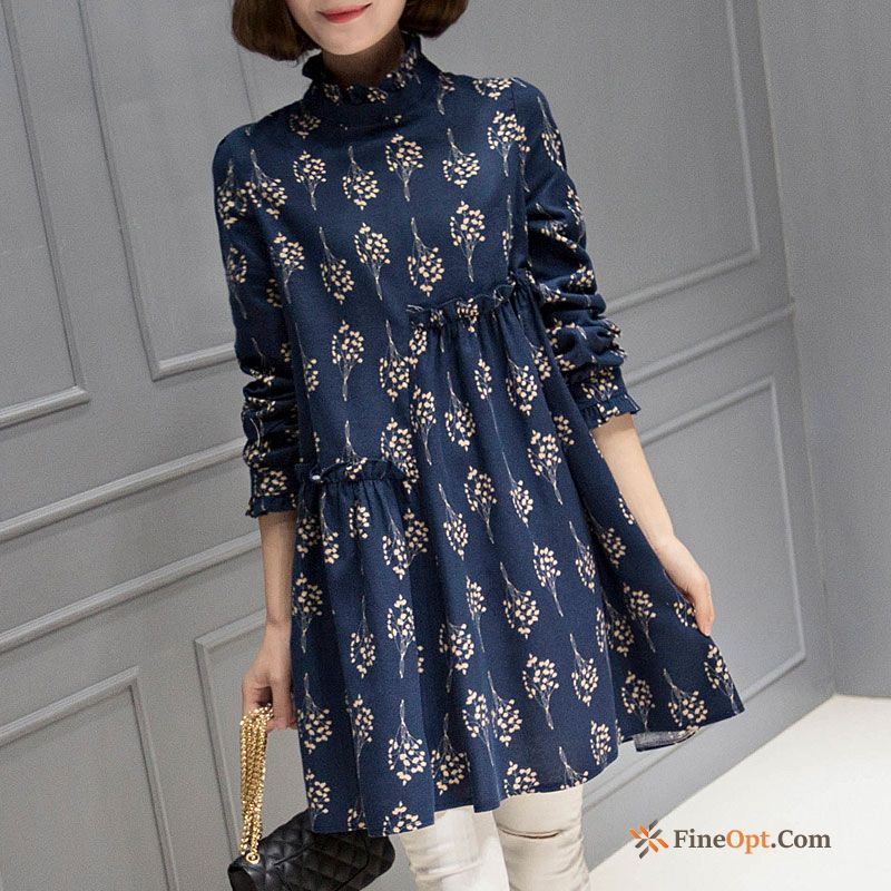 Embroidery Long All-match Trend Long Sleeves Lady Lace Grape Blouse