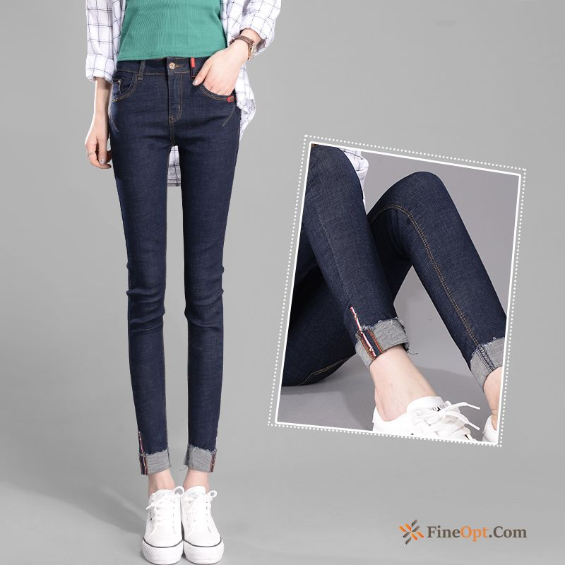 Europe Elasticity Thin Pencil Pants Crimping Student Tight Ocean Blue Jeans