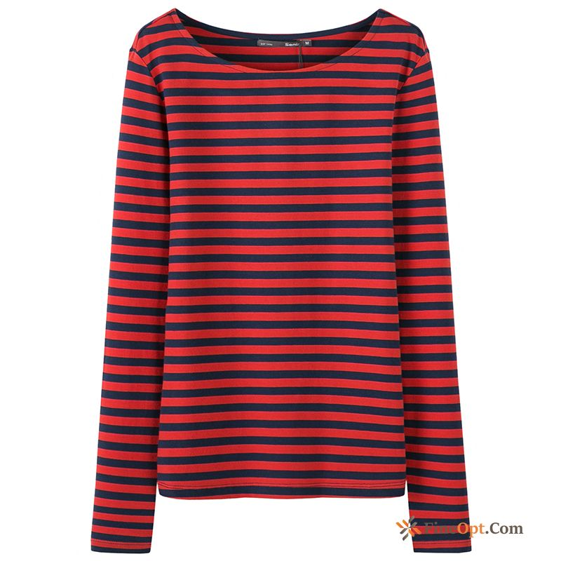 Europe New Round Neck Contrast Color Stripes Leggings Spring T-shirts Discount