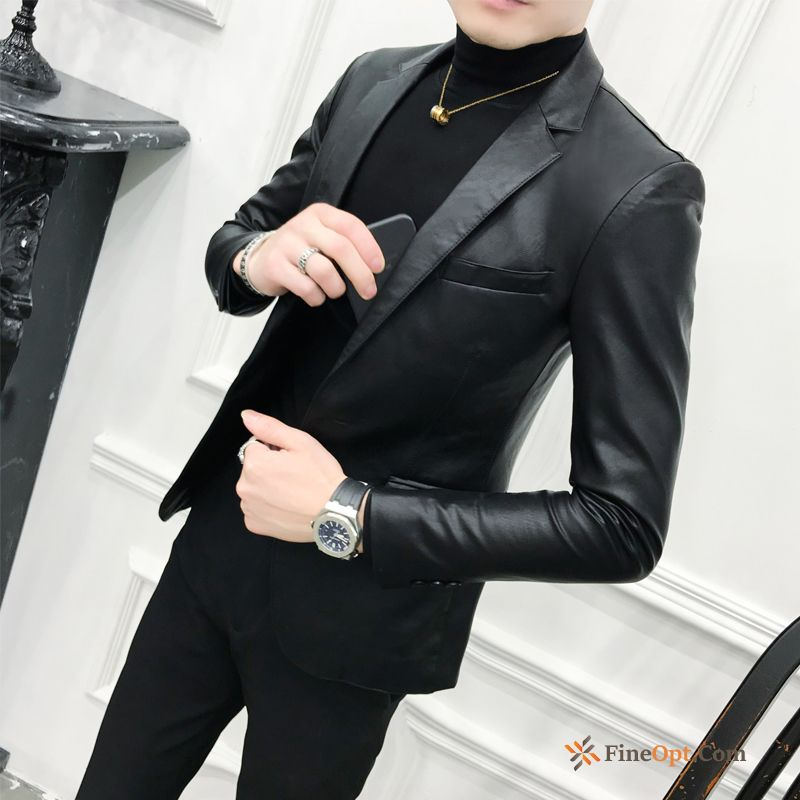 Europe Pu Autumn Pure Suit Spring Slim Leather Jacket