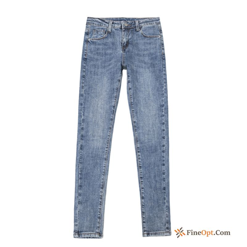 Europe Tight Spring All-match Blue Thin Jeans