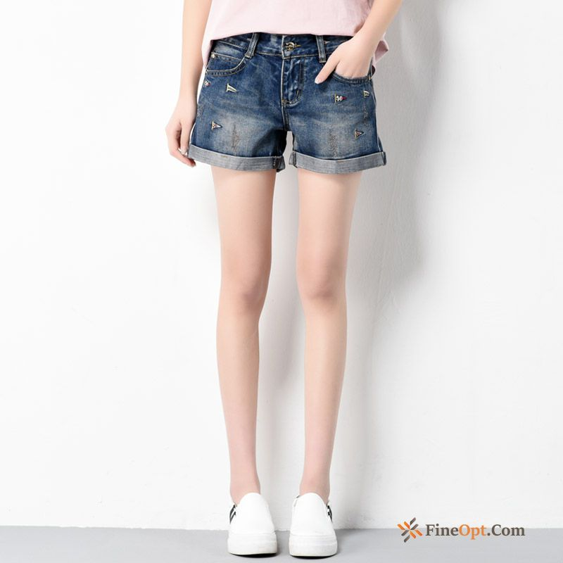 Europe Trend Embroidery Slim Denim Hot Pants Short Pants Jeans Sale