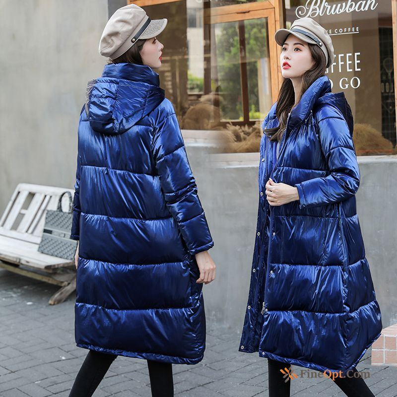 Fashion Cotton Long Cotton-padded Glossy Europe Winter Cotton Coat For Sale