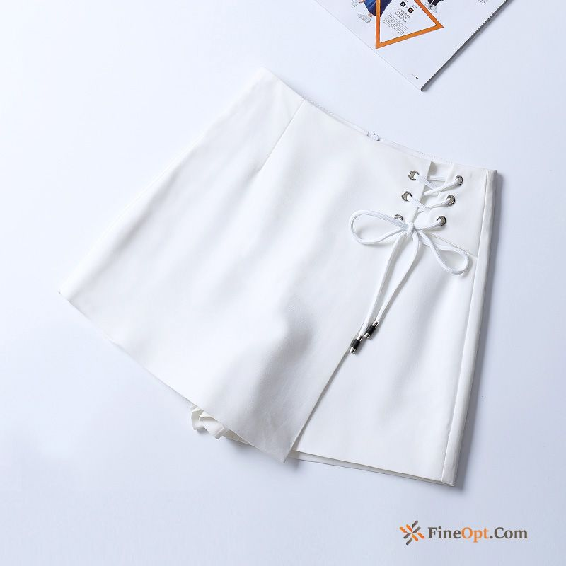 Fashion Outwear Straps White Thin Short Pants Irregular All Black Shorts For Sale