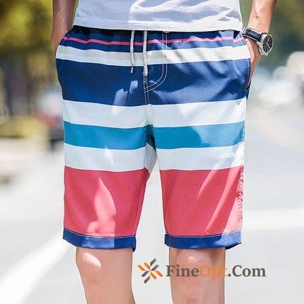 Fat Stripes Short Pants Summer Mixed Colors Large Size Shorts
