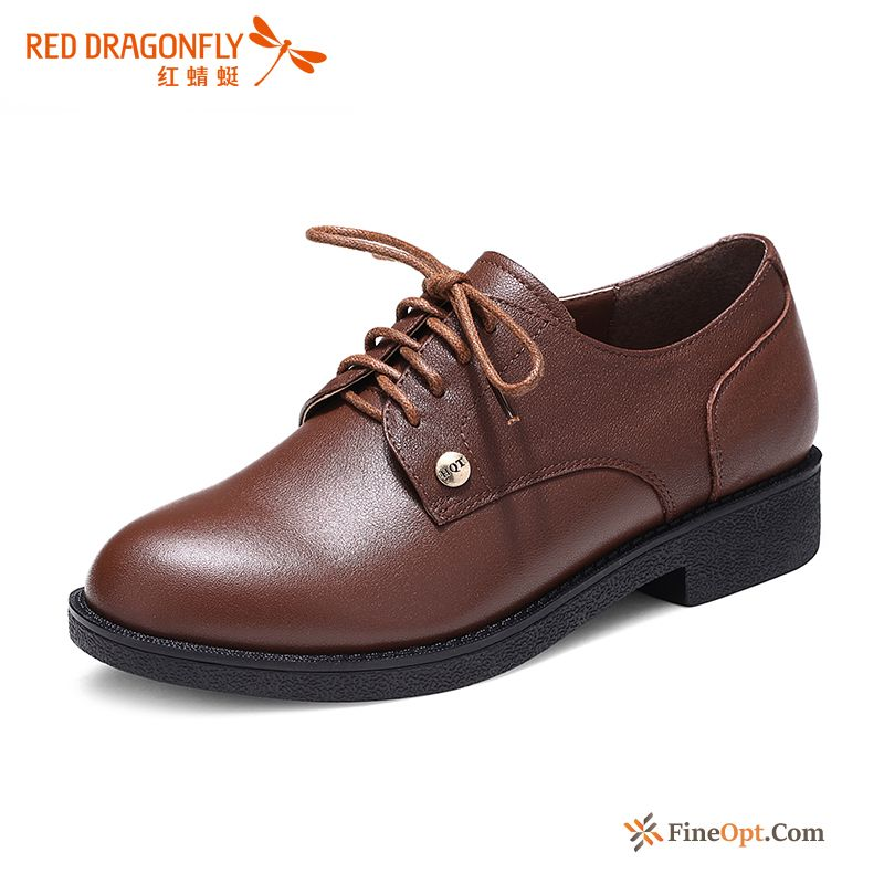 Flat Lace-up Leather Shoes Genuine Leather Autumn Casual Red Skyblue