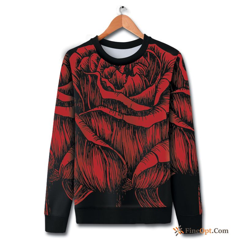Flower Coat Rose Hoodies Printing Large Size Fashion Rose Violet Hoodies Sale