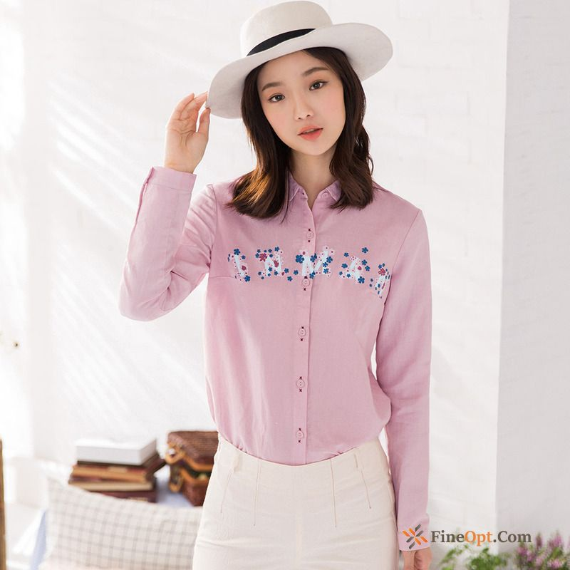 Flower Linen Blouse Spring Literature Art All-match New Blouse