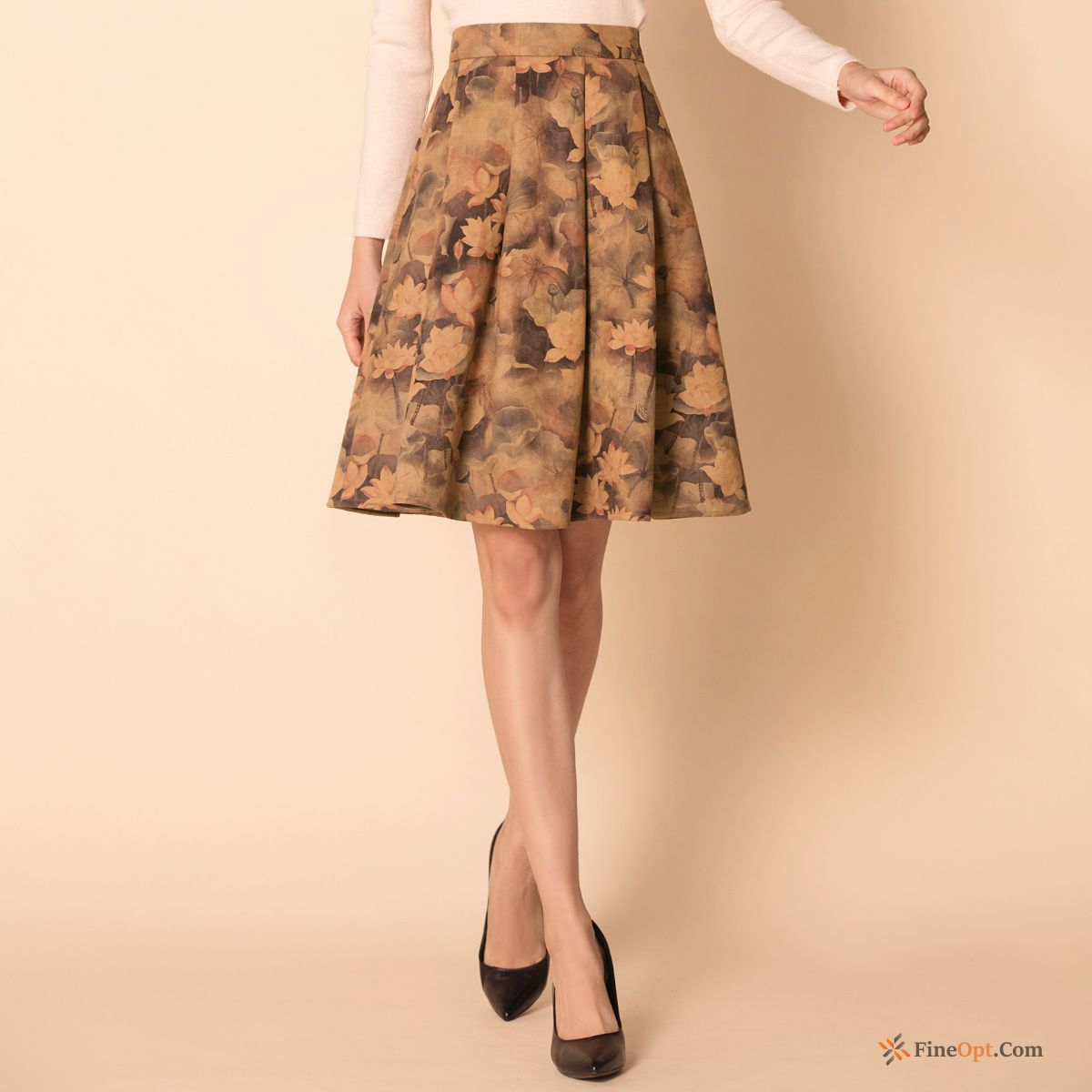 Flower Printing Winter Thin Pleated Skirts Leather Suede Skirts